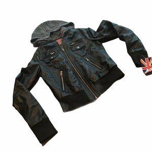 Miss London black faux leather  zip moto jacket